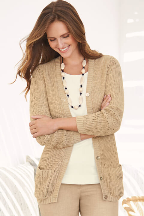 Cotton blend open knit cardigan
