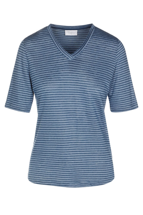 Linen Jersey V Neck Stripe Top