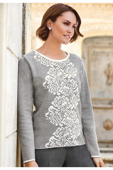 Italian jacquard knit top