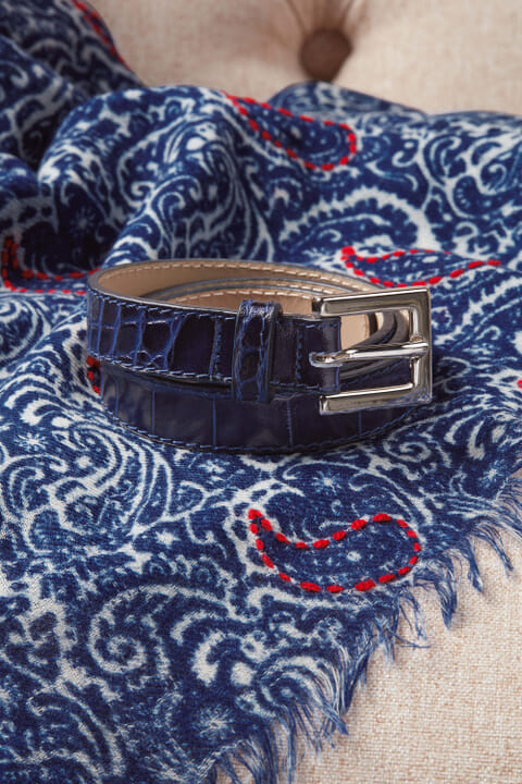 Mock-croc leather belt